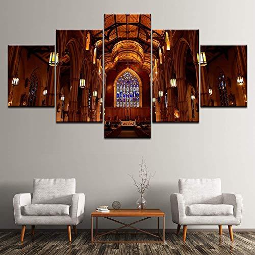 MONDFH Pintura en Lienzo Catedral 5 Pintura de Arte de Pared Papel Tapiz Modular Póster Impresión de Sala de Estar Decoración del hogar Pasillo, Póster de Muebles-Sin Marco