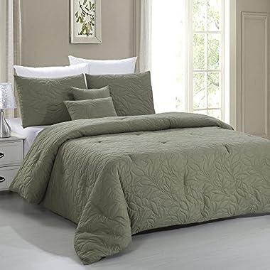 Amrapur Overseas Nottingham Leaf 5-Piece 100% Microfiber Embossed Comforter Set (Olive, Queen)