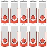 Enfain Red USB Flash Drive 16GB USB2.0 Memory Stick 10 PCS Thumb Drive Bulk Jump Drive Zip Drives, with Led Indicator, Plus 12 Removable Mark Labels (16 GB, Red, 10 Pack)