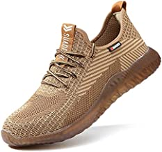 SUADEX Indestructible Steel Toe Work Shoes for Men Women Puncture Proof Composite Toe Working Shoes Brown