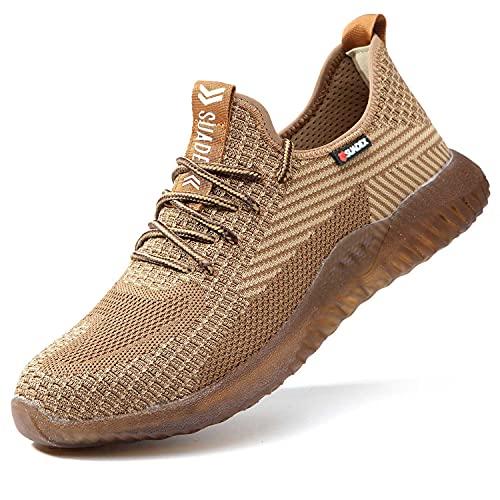 SUADEX Indestructible Steel Toe Shoes Men Work Safety Shoes for Men Women Lightweight Composite Toe Working Shoes Brown 13.5 Women/12 Men