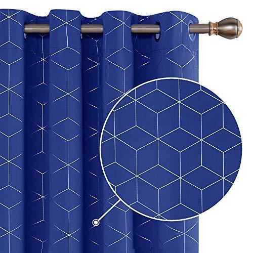 Deconovo Cortinas Opacas Diseño Rombo Plateadas para habitación con Ojales 2 Piezas 140x180cm Azul Oscuro