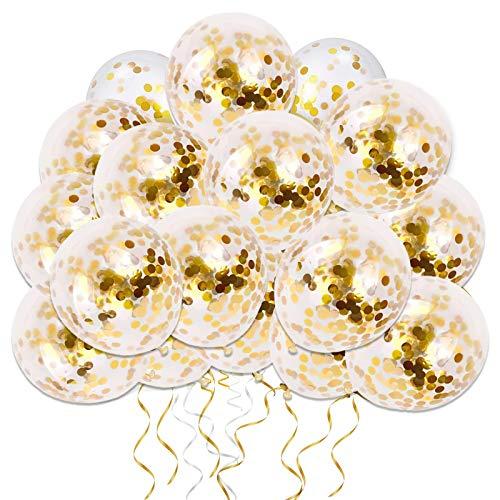Globos de Confeti Oro, 50 piezas 12 pulgadas Globos de Fiesta de Látex con Confeti de Papel Dorado para Decoraciones de Bodas de Cumpleaños