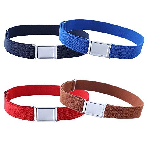 Kajeer 4 Stück Gürtel für Jungen Mädchen Verstellbar - Großer Elastischer Stretchgürtel mit einfacher Magnetschnalle, Marineblau/Königsblau/Rot/Kaffee, Einheitsgröße