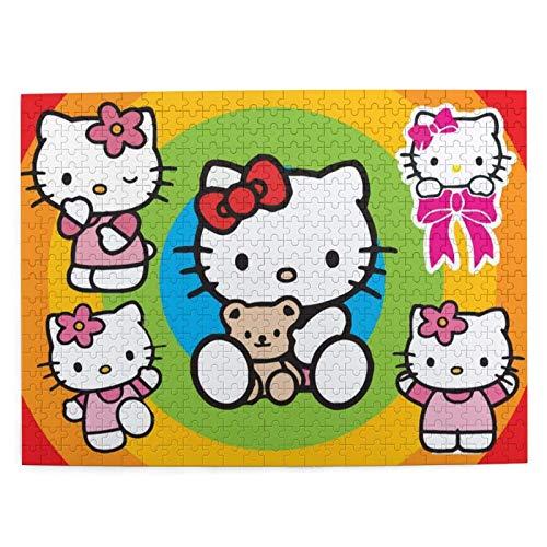 yushan Hello Kitty Wooden Jigs Spiele für Erwachsene Familienpuzzle Kinderpuzzle 500-teilig, Denksport für Jungen Mädchen Geschenke Herausforderndes Puzzlespiel