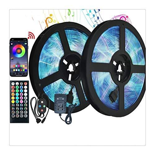 RongWang Tira de luz LED WiFi Control RGB 5050 SMD 2835 Cinta Flexible Impermeable DC12V 5M 10M 15M 20M Decoración de Vacaciones (Size : 15m, Waterproof Level : 5050 Waterproof)