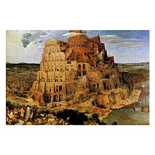 Pieter Bruegels The Tower of Babel Circa Puzzles for Adults, 1000 Piece Kids Jigsaw Puzzles Game Toys Gift for Children Boys and Girls, 20