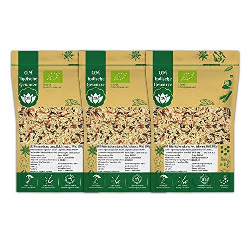 BIO Reismischung mit Wildreis, Schwarzer Reis, Roter Reis, Langkorn Reis | Vollkorn Ungeschält | Organic BIO Qualität Reis | 3x 800g Reis-Set 2,4 Kg