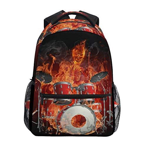 Bookbag Schlagzeuger Skeleton Fire Student Vintage Rucksack Daypack Lightweight College Umhängetasche Casual School Travel Teens Geschenk