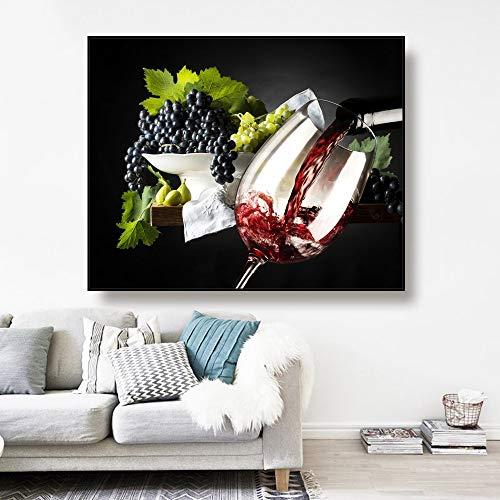 PEKSLA Arte Decoración de pared Pintado Paisaje Copa de vino y vino tinto Uva moderna oficina 60x48cm impresión arte de pared para comedor imagen decoración