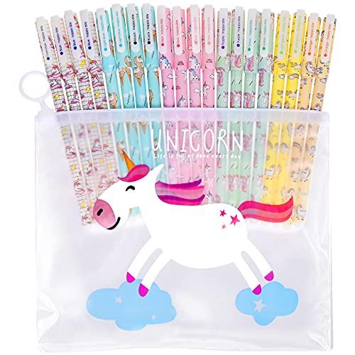 Fabur Bolígrafos de unicornio para Niñas,20 pcs Juego de Bolígrafos de Unicornio Pluma Escribir Suave fIrma de Tinta de Regalo de Navidad,Cumpleaños Escolar,Fiestas de Cumpleaños