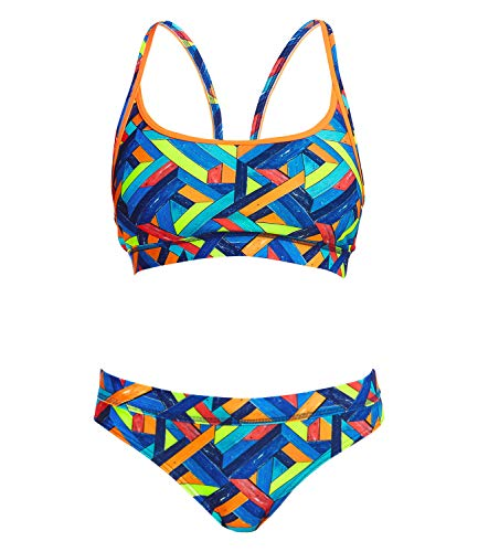 Funkita Damen Bikini Set Sportbikini Sports Top Two Piece Boarded Up, Größe:34