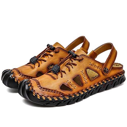 DYFAR Senderismo al Aire Libre Zapatos Cuero Sandalias con Punta Cerrada Tamaño Grande Secado rápido Tapa Protectora Zapatos Agua Verano Playa Caminata Informal Caminar, Yellow, 42
