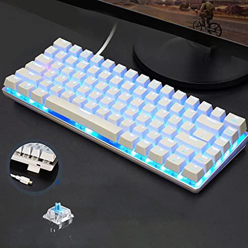 JUSHINI AK33 Geek LED Retroilluminato Anti-Ghosting USB Wired Gaming Tastiera Meccanica Da Bianca, Tastiera Gaming Mini Blu Interruttori Per ufficio, Dattilografi E Giocare
