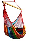 Hammocks Rada: Handmade Yucatan Chair Hammock - Tropical Multicolor - Artisan Crafted in Central America - Wood Bar Included - Carries Up to 260 Lbs.