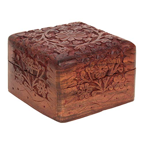 Ajuny - Caja de recuerdo de madera tallada a mano, organizador perfecto para regalos únicos para hombres y mujeres