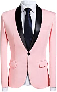 Mens Blazer Casual Jacket Slim Fit One Button Suits Coat Shawl Collar Solid Blazer Business Jacket