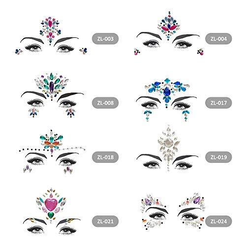 ZJHHH 8 Gems Cara de Sirena Lentejuelas, pedrería enfrentan Fiesta Rave Cara de la Etiqueta engomada de Cristal Ojos Facial Cuerpo Tatuajes temporales