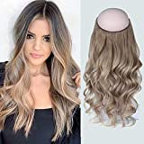 Sassina Halo Hair Extensions Human Hair with Miracle Wire Ombre Color Natural Straight Style T20-19# 120 Grams 20 Inch