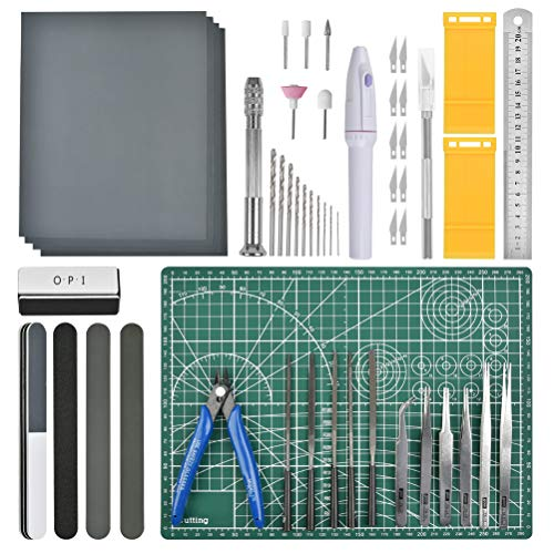 OFNMY Professional 53 PCS Gundam Model Tools Kit Hobby Building Tools Craft Set Gundam Modeler Basic Tools for Basic Model Building, Repairing and Fixing