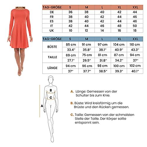 ABAKUHAUS Vestido para Dama con Mangas Largas Línea A, XL, Lila