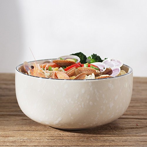 Creative Cuisine Japonaise Rétro Céramique Vaisselle Ramen Bol Grand Bol à Soupe Ménage Grand Bol Bol à Salade Ramen Bol,B,6,5 pouces de diamètre