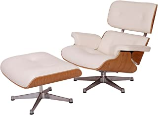 EMODERN FURNITURE eMod - Eames Lounge Chair & Ottoman Plywood White Aniline Leather White Oak Wood Veneer