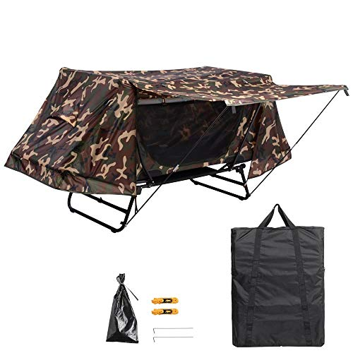 Yescom Single Tent Cot Folding Portable Waterproof Camping Hiking Bed Rain Fly Bag, Camouflage
