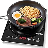 Aicok Induction Cooktop, Poetable Countertop Burner, Smart Sensor Touch Induction Cooker with Kids Safety Lock, 15 Temperature and Power Settings, Black