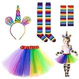 Riclahor Einhorn Kostüm Kinder Damen Kostüm, Faschingskostüme Damen, Einhorn haarreif, Tutu Rock, kniestrümpfe Streifen und Lange Handschuhe. Karneval kostüm.Eine größe passt für Kinder und Frauen.