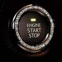Bling Car Decor کریستال Rhinestone ماشین Bling حلقه نماد برچسب، Bling لوازم جانبی خودرو برای موتور شروع موتور سوئیچ دکمه دنده و دکمه ها، Bling برای داخل خودرو، هدیه منحصر به فرد برای زنان (نقره ای)