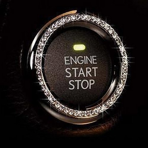 Bling Car Decor Crystal Rhinestone Car Bling Ring Emblem Sticker, Bling Car Accessories for Women, Push to Start Button, Key Ignition Starter & Knob Ring, Interior Glam Car Decor Accessory (Silver)