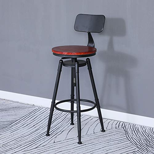 Taburetes de Bar Vintage, taburetes industriales con Respaldo, sillas de Barra giratorias Retro de Altura de mostrador de Cocina con reposapiés para Pub, Altura Ajustable