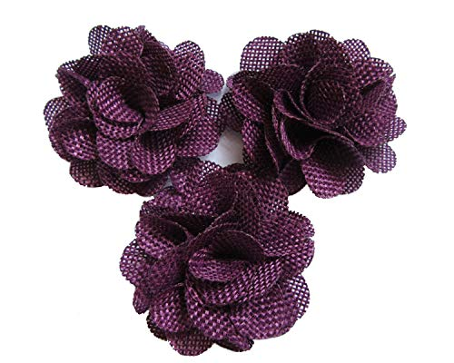YYCRAFT 15pcs Burlap Flower Roses,3D Fabric Flowers for Headbands Hair Accessory DIY Crafts/Wedding Party Decorations/Scrapbooking Embellishments(2.25Inch Plum)