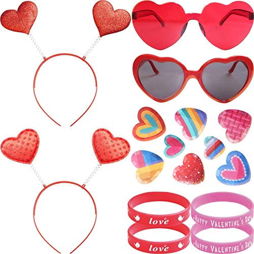 Beelittle Valentinstag Red Glitter Head Boppers und Valentines Heart Shape Sonnenbrillen für Valentine Holiday Kostüm Party Requisiten Party Supplies (Red2)