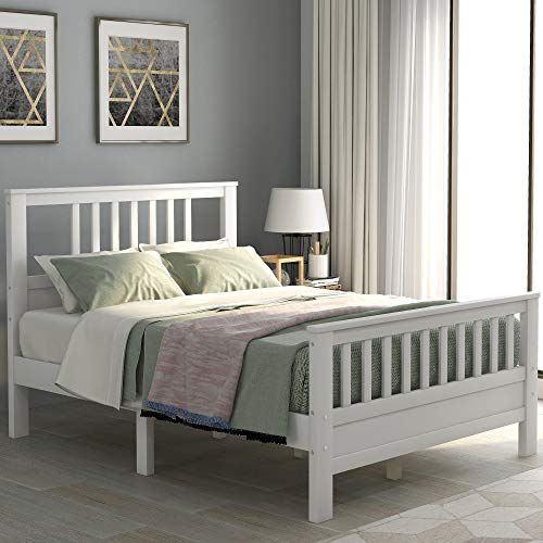 Bed Frame, Wood Platform Bed with Headboard and Footboard, Mattress Foundation with Wood Slat Support,No Box Spring Needed (White, Full)