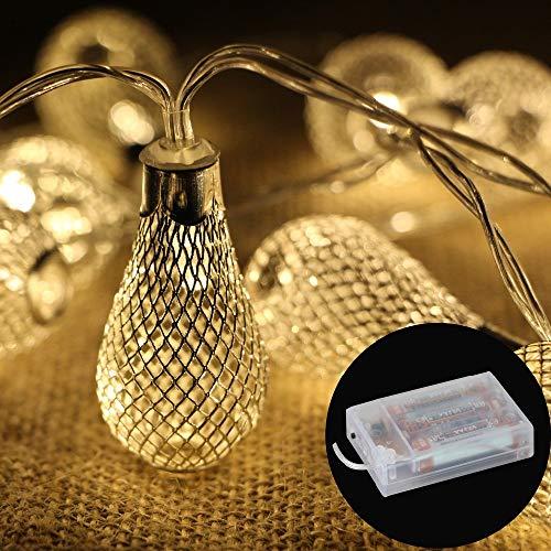 Cadena de luces decorativas con 20 ledes, funciona con pilas, metal, diseño de gota, para Navidad, bodas, dormitorios, festivales, fiestas