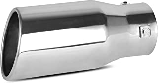 2.0-2.5 Inch Inlet Exhaust Tip, AUTOSAVER88 Chrome Polished Stainless Steel Exhaust Tip, Bolt On Design.