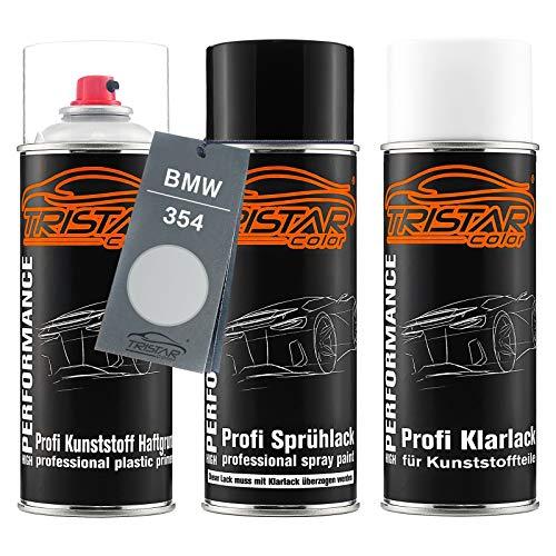 TRISTARcolor Autolack Spraydosen Set für Kunststoff Stoßstange für BMW 354 Titansilber Metallic/Titanium Silver Metallic Haftgrund Basislack Klarlack mit Weichmacher Sprühdose