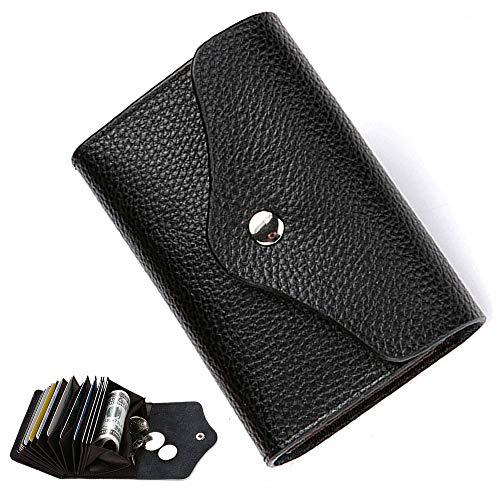 Echtes Leder Kreditkarteninhaber RFID Schutz Visitenkartenetui Karten Geldbörse Schwarz Klein Brieftasche Männer Portemonnaie Ziehharmonika-Stil 14 Fächer