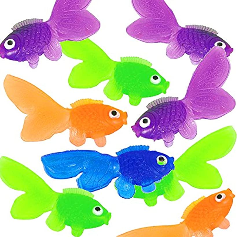 4E's Novelty Pack of 144 Cute and Happy Looking Little Vinyl Goldfish Party Favor, Carnival Game, Kids Craft, School Project, Summer Party's, Assorted Colors
