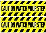2 Pack Caution Watch Your Step Door Sticker Set Sign Warning 9x3 Inch Vinyl Decal Indoor Outdoor Window Door Business Retail Store