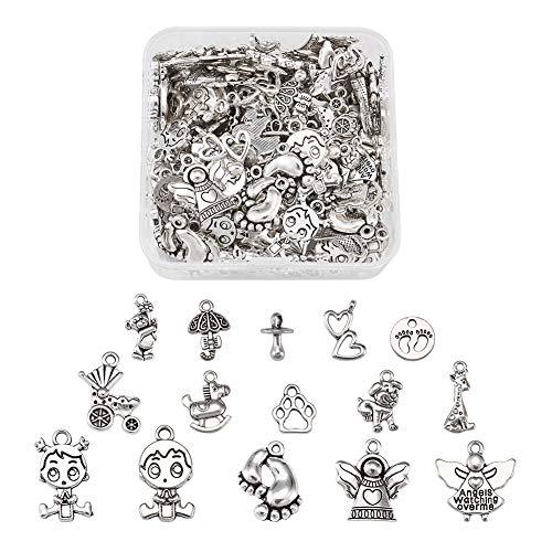 Craftdady - 150 colgantes tibetanos de plata para bebé, 15 estilos, estilo vintage, para joyas, manualidades, agujero: 1-2 mm