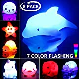 Bath Toys, 8 Packs Light-Up Floating Pool Fun Unicorn Dolphin Toys, 7...
