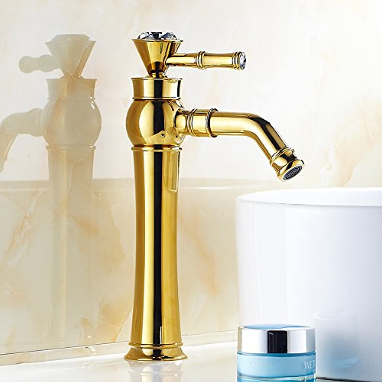 Lncaong gold Copper Bathroom Faucet And Gilt Antique Diamond Basin Faucet,golden