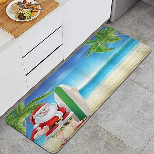 JOSENI Anti Fatiga Cocina Alfombra del Piso,Santa con Tabla de Surf Navidad,Antideslizante Acolchado Puerta Habitación Bañera Alfombra Almohadilla,120 x 45cm