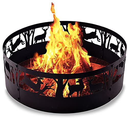 Fire Ring Fire Pit Ring-36Inch Heavy Duty Fire Rings for Outdoors Patterned Design Bonfire Ring Insert for Cooking Grate Fire Pit Ring