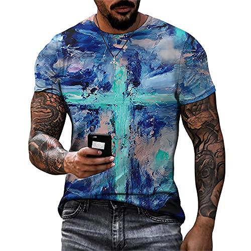 Camiseta Verano Hombre Cuello Redondo Elegante Manga Corta Hombre Deportiva Estampado Abstracto Moderno Hombre Ropa Shirt Calle Vintage T-Shirt Hombre