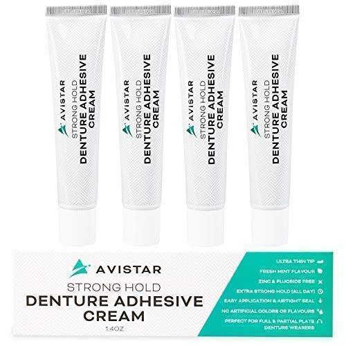 Denture Adhesive Cream (5 Pack) - Extra Strong Hold With Easy Application & Mint Flavour (Zinc & Fluoride Free)