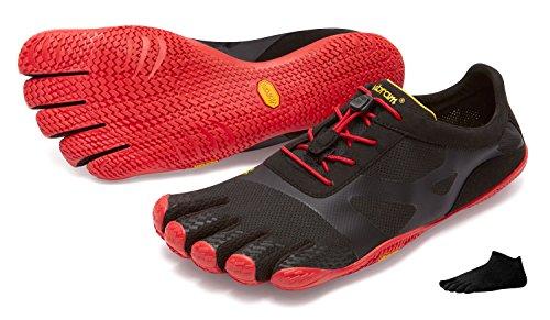 Zapatos con dedos Vibram FiveFingers KSO Evo para hombre, para caminar como si fueras descalzo. Incluye un par de calcetines, negro/rojo, 41